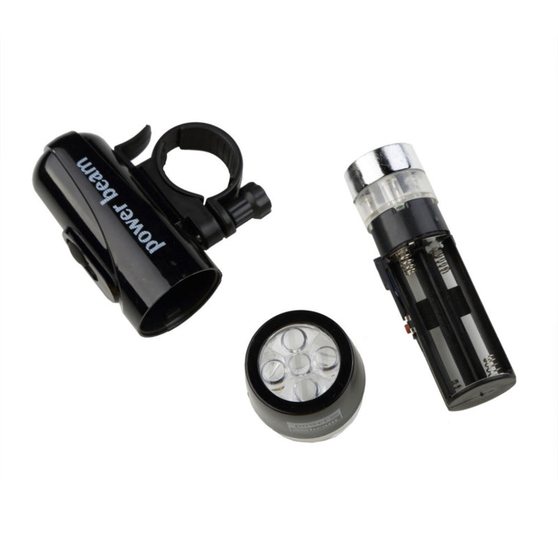 Black Front Flash Light - 5 LED Power Beam - Torch Lamp for Biking