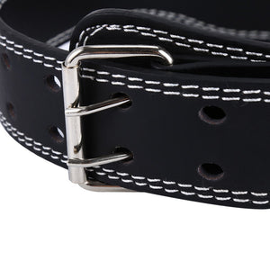 Adjustable Leather Weight Lifting Belt - (44.41 - 51.09 inch) - 2 Pins Stainless Buckle