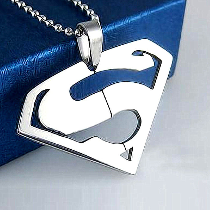 Stainless Steel Superman Pendant & Free Chain