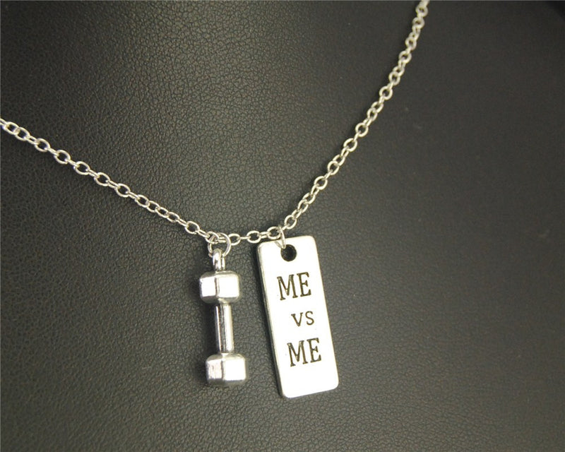 Dumbbell Barbell & Me vs Me Pendant Necklace