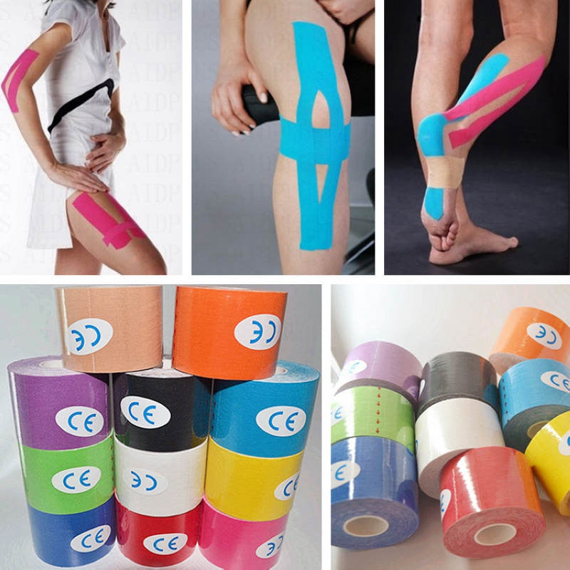 1 Roll Kinesiology Sports Tape - Adhesive Cotton - Elastic Bandage - Strain Injury Support (5cmx5m)