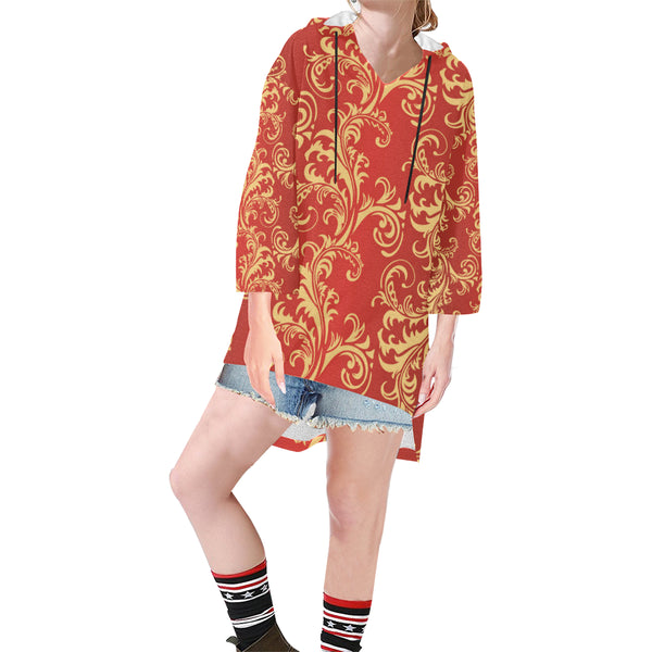 Women V-neck Hoodie Red Boho Style Pattern - Perinterest