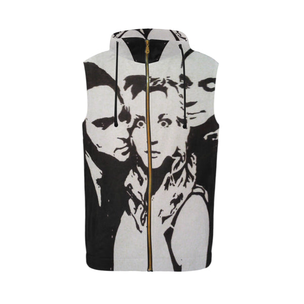 All Over Print Sleeveless Zip Up Hoodie for Men