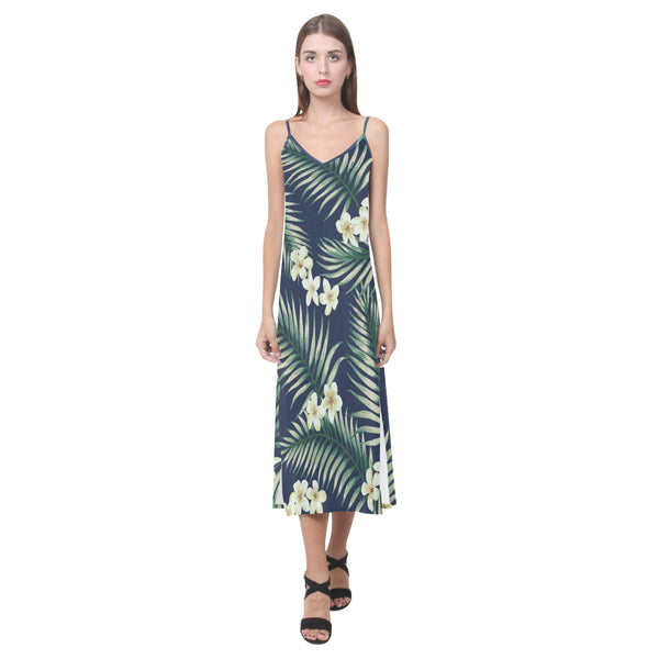 Women's V-Neck Sleeveless Dress Green Tropical Leaf Flower - Perinterest