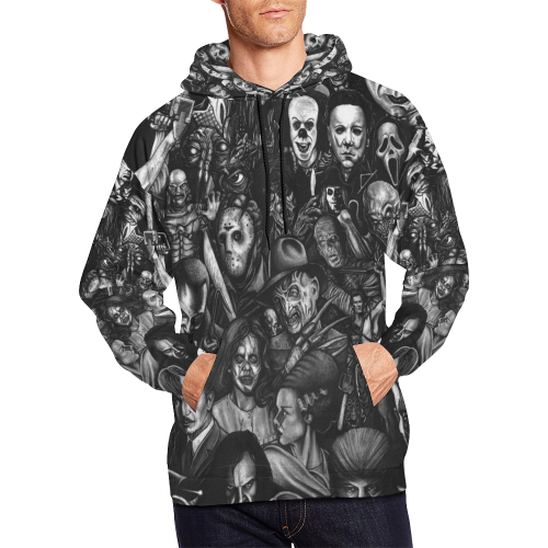 Horror Heads All Over Print Hoodie for Men