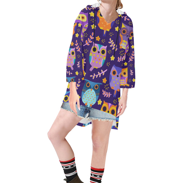Women V-neck Hoodie Purple Cartoon Owls - Perinterest