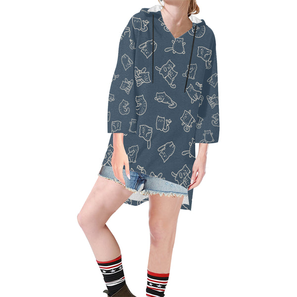 Women V-neck Hoodie Blue Funny Cats - Perinterest