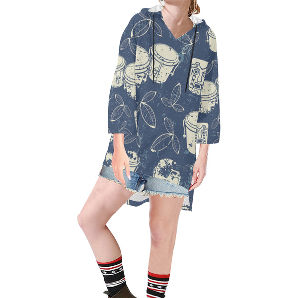 Women V-neck Hoodie Blue Boho Style Pattern - Perinterest