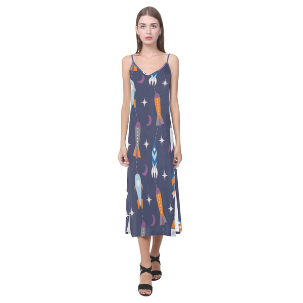 Women's V-Neck Sleeveless Dress Navy Blue Space Ships - Perinterest