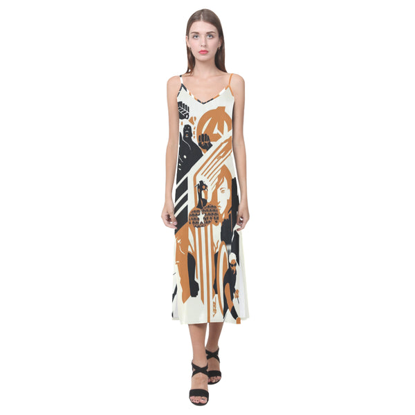 V-Neck Open Fork Long Dress