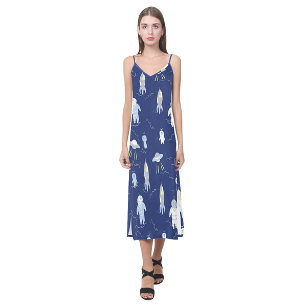 Women's V-Neck Sleeveless Dress Blue Space Ships Robots - Perinterest