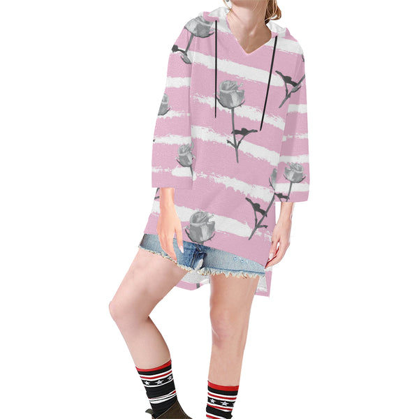 Women V-neck Hoodie Pink Rose - Perinterest