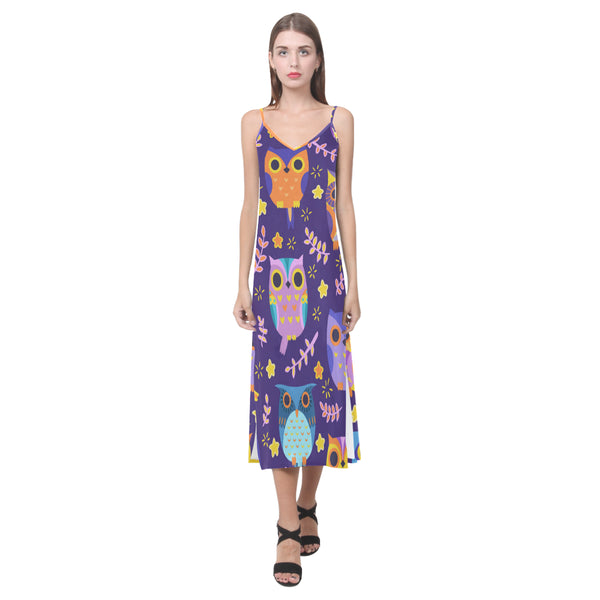 Women's V-Neck Sleeveless Dress Purple Colourful Cute Owls - Perinterest