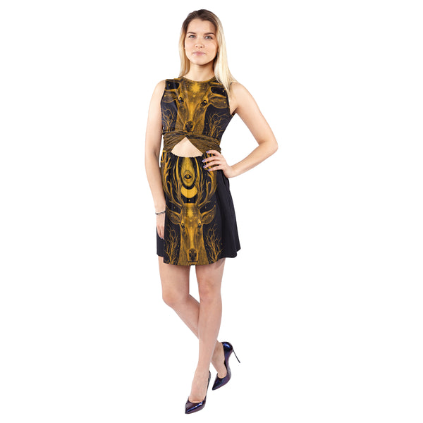 Women's Sleeveless Cutout Waist Knotted Dress