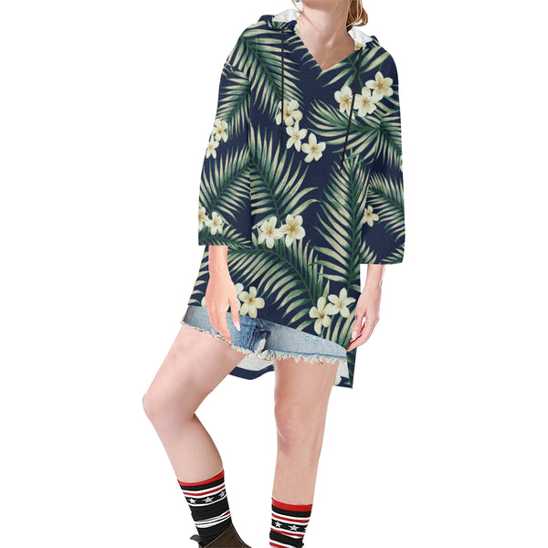Women V-neck Hoodie Green Tropical Leaves - Perinterest