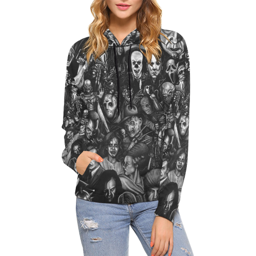 Horror Heads All Over Print Hoodie for Women