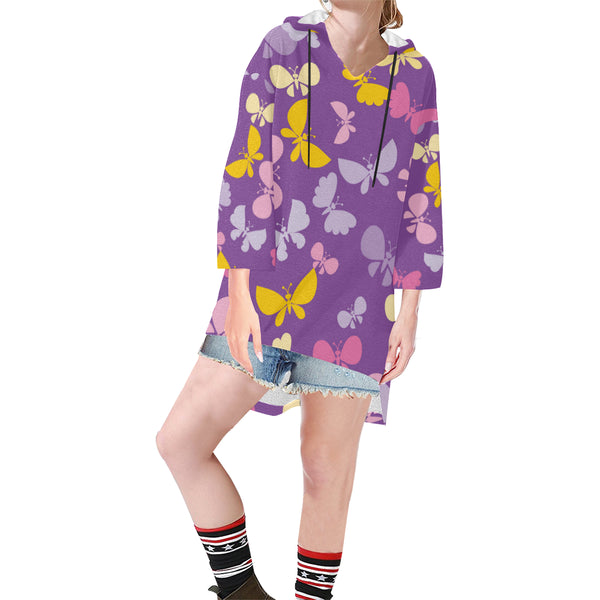 Women V-neck Hoodie Purple Butterfies - Perinterest
