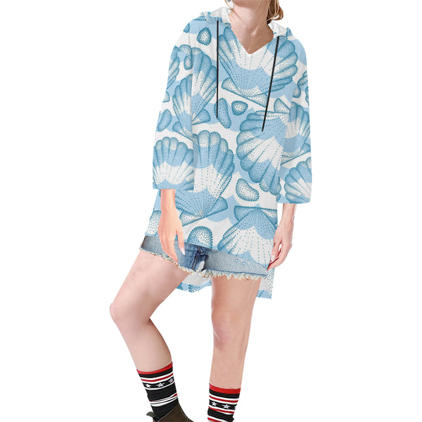 Women V-neck Hoodie Blue Shell - Perinterest