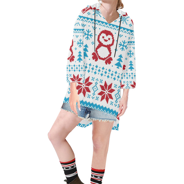 Women V-neck Hoodie Red Penguins Snowflake - Perinterest