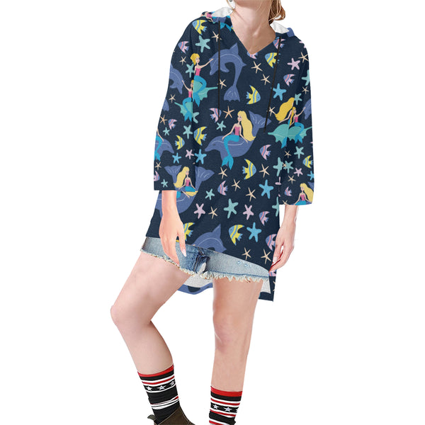 Women V-neck Hoodie Blue Mermaids Dolphins - Perinterest