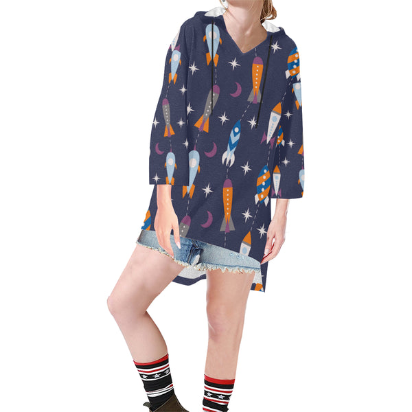 Women V-neck Hoodie Navy Blue Space Ships - Perinterest