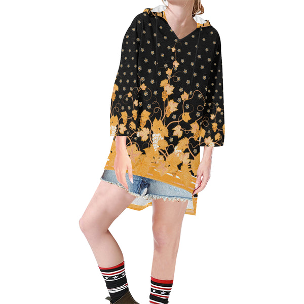 Women V-neck Hoodie Black Golden Boho Floral - Perinterest