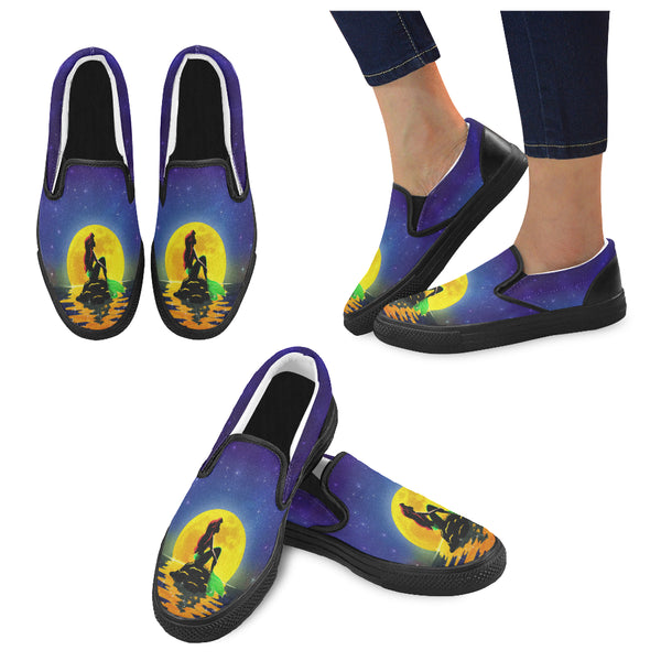 The Mermaid and the Moon Women Slip-on Canvas Shoes