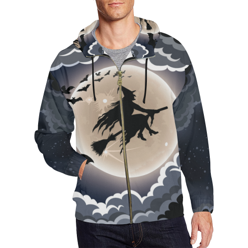 Halloween Witch Zip Hoodie For Men