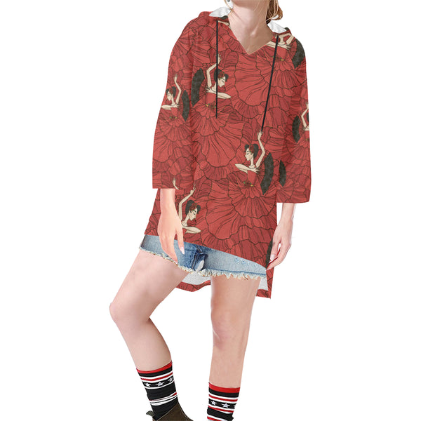 Women V-neck Hoodie Red Dancer Pattern - Perinterest