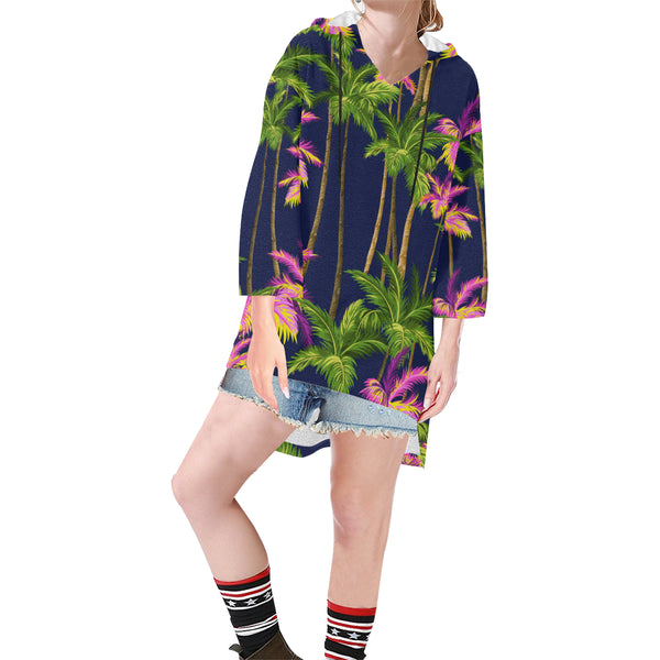 Women V-neck Hoodie Green Tropical Trees - Perinterest