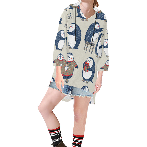 Women V-neck Hoodie Beige Cute Penguins - Perinterest