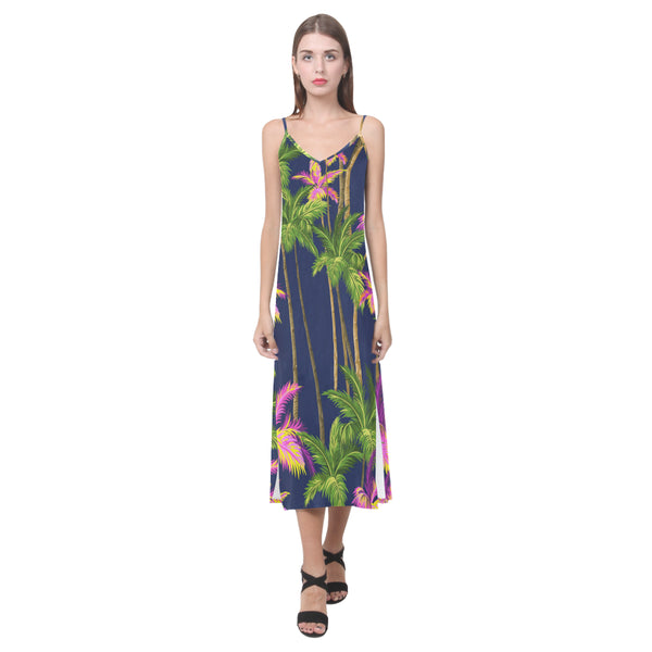 Women's V-Neck Sleeveless Dress Green Coconut Tree - Perinterest