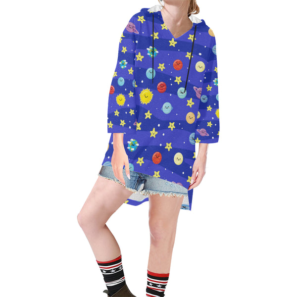 Women V-neck Hoodie Blue Cartoon Planets - Perinterest