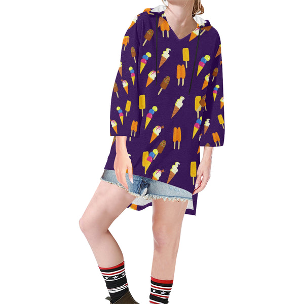 Women V-neck Hoodie Purple Cartoon Icecream - Perinterest