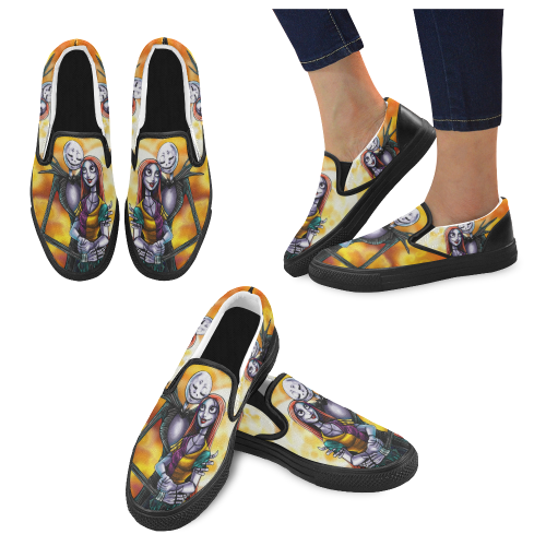 Nightmare Jack and Sally Men's Slip-on Canvas Shoes