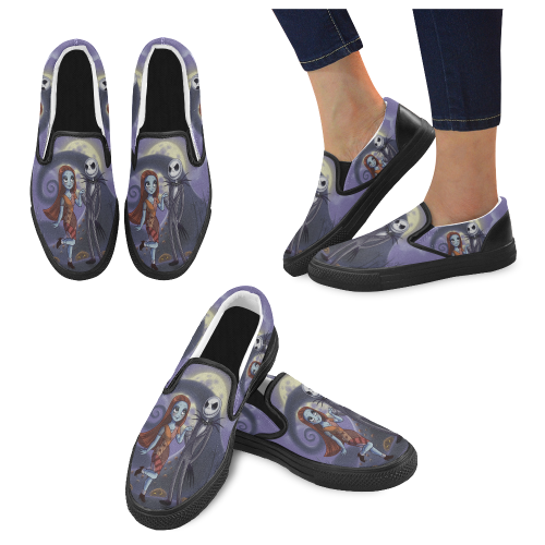 Cartoon Nightmare Jack and Sally Men's Slip-on Canvas Shoes