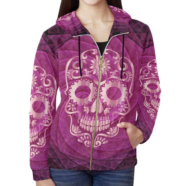 Women All Over Print Full Zip Hoodie