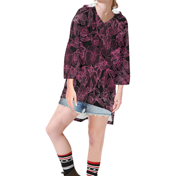 Women V-neck Hoodie Black Floral Pattern - Perinterest