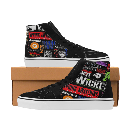 Broadway Musical Collage Men's High Top Skateboarding Shoes