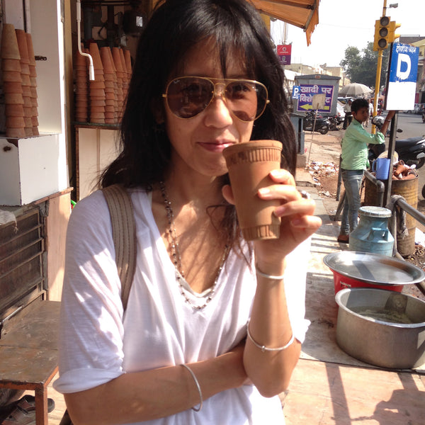 Fumie Drinking her Lassi