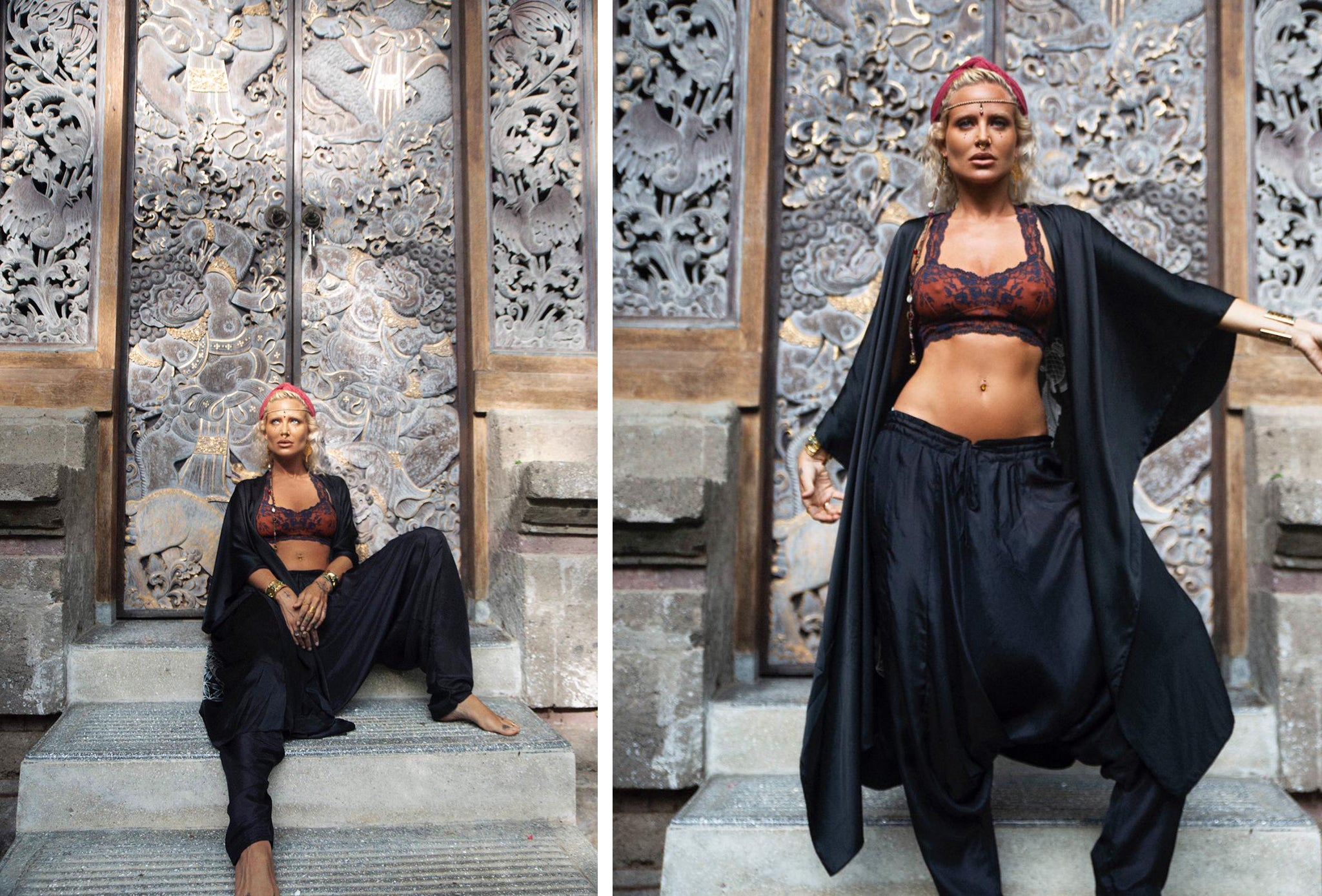 swedish beauty maxine bjork wearing fara boutique silk dhoti trousers and warriors of the divine kimono