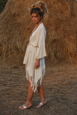 Alisa Belochkina Goa Raw Silk Midi Kimono Slow Fashion Nomads