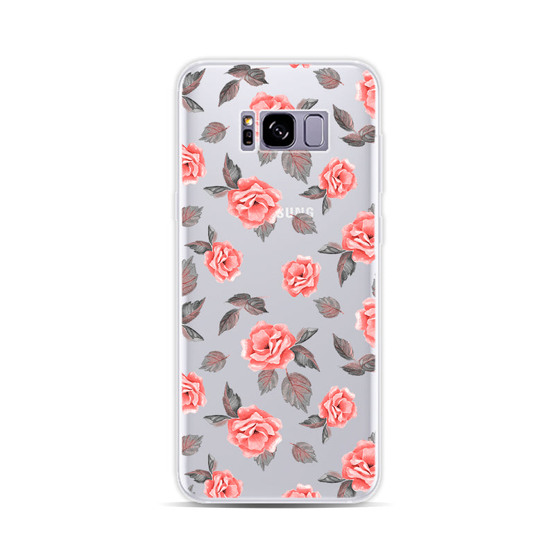 Pink Flowerrs and Grey Leaves - DesignoCase