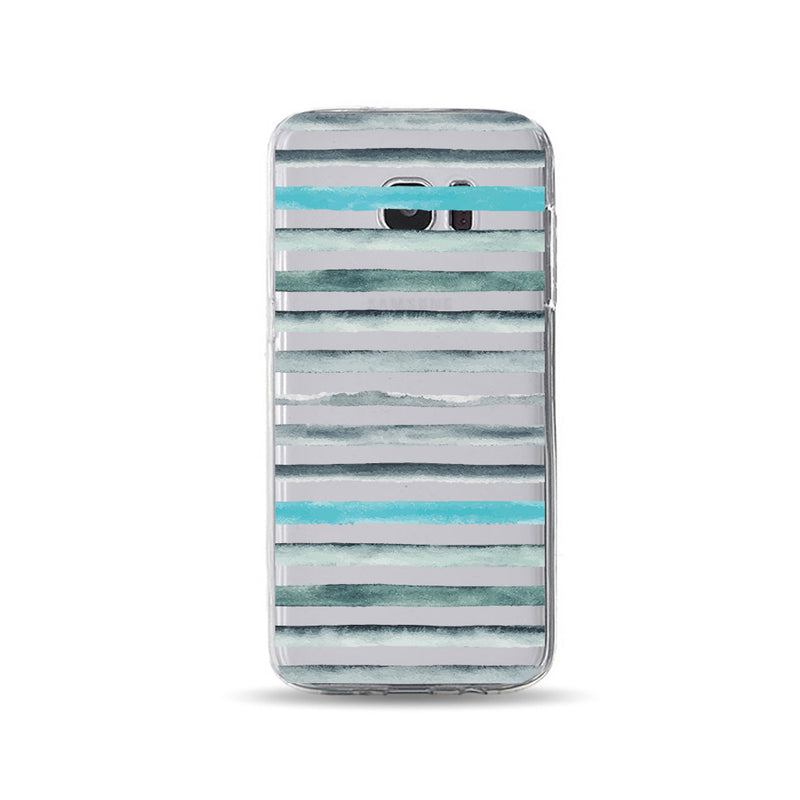 Grey Green Water-colour Stripes - DesignoCase
