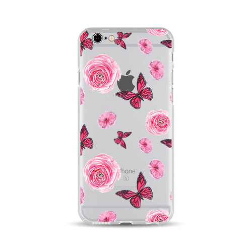 Pink Flowers and Red Buterflies - DesignoCase