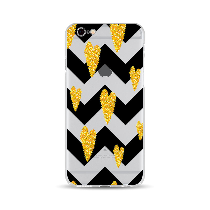 Golden Heart and Black Zigzag - DesignoCase