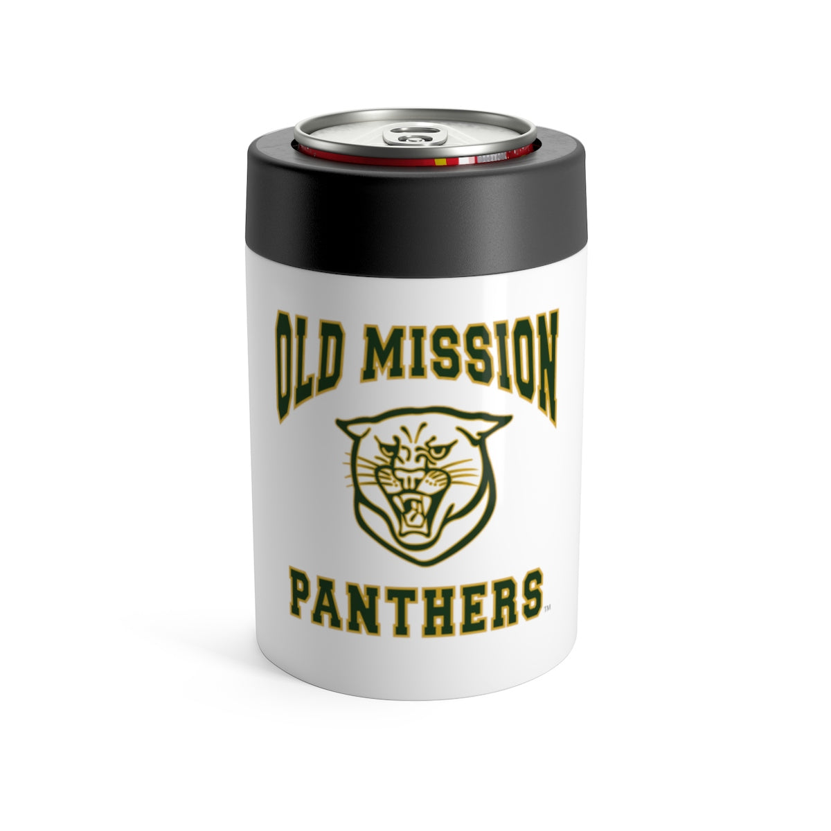 Old Mission Panthers White Stainless Steel Can Holder