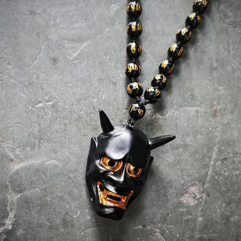 Black Hannya Mask Necklace
