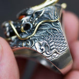 Silver Gold Chinese Dragon Ring