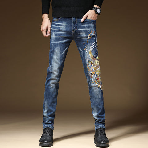 Foo Dog Denim Pants